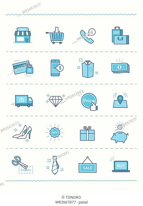 Set of various line icons related to shopping