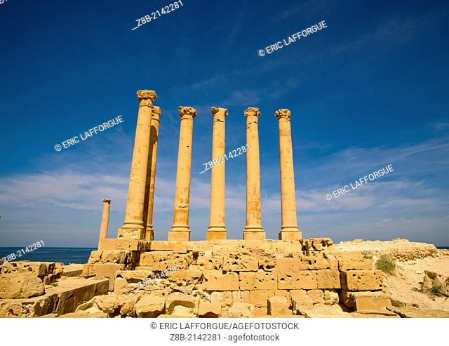 SABRATHA, LIBYA - APRIL 03: Sabratha was one of the three cities of Tripolis, it lies on the Mediterranean coast west of Tripoli