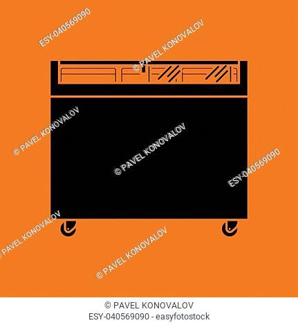 Supermarket mobile freezer icon. Orange background with black. Vector illustration