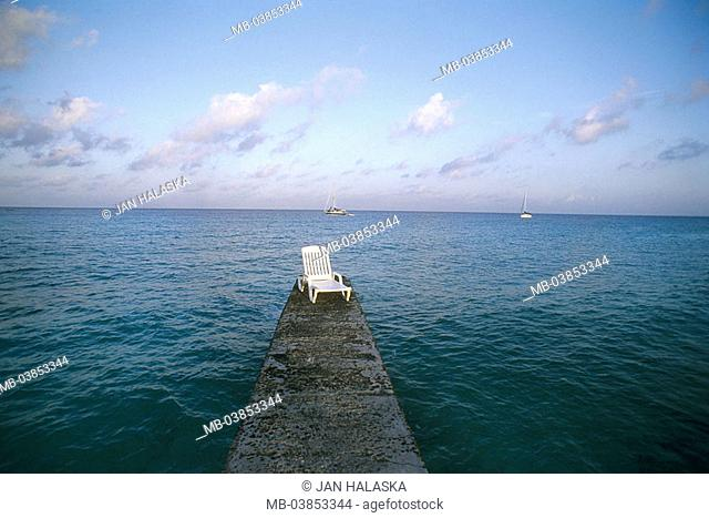 Cuba, Maria la Gorda, sea, bridge, deck chair, Central America, Caribbean, island, stone-wall, breakwaters, sun-chair, leaves, human-empty, nobody, symbol