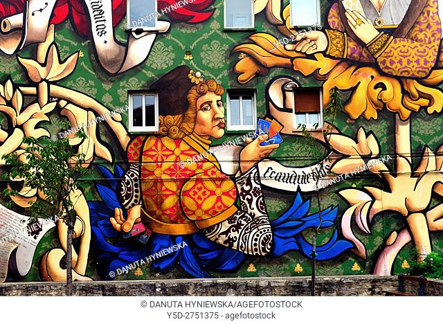 Art mural , Calle Santa Maria 9, Old Town, Vitoria-Gasteiz, Ãlava, Alava, Araba, Euskadi, Basque Country, Spain, Europe