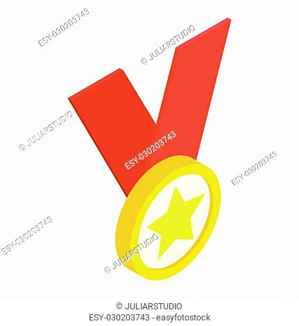 Medal with star on a red ribbon isometric 3d icon on a white background