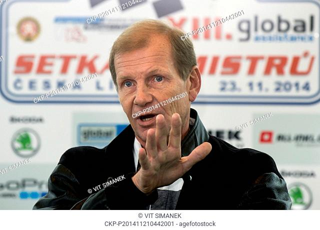 The four-time world rally champion Juha Kankkunen speaks during press conference in Prague, Czech Republic on November 21