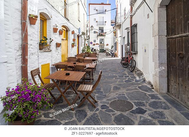 Narrow street in town of Cadaques,Costa Brava, province Girona, Catalonia