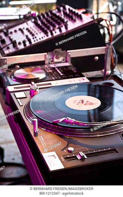 Record player of a disk jockey
