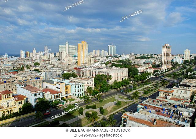 Havana Cuba aerial of downtown city skyscrapers from beach hotel of crowded city