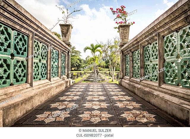 Ornamental stone walkway and formal garden, Amlapura, Bali, Indonesia