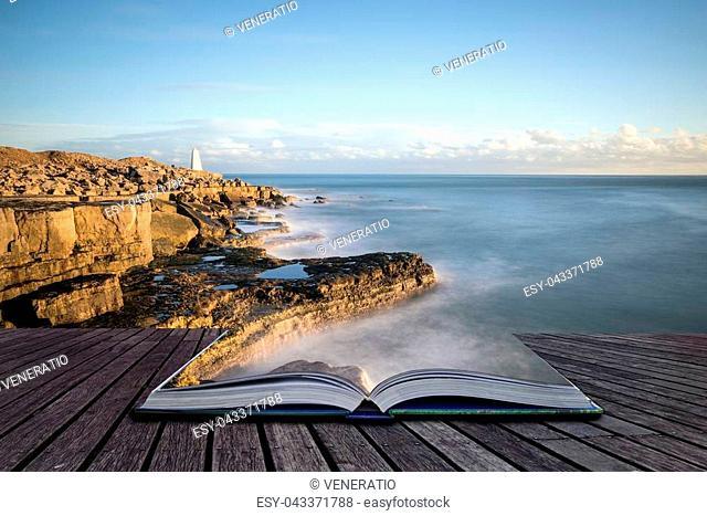 Creative book image of Beautiful sunset landscape image of Portland Bill rocks in Dorset England