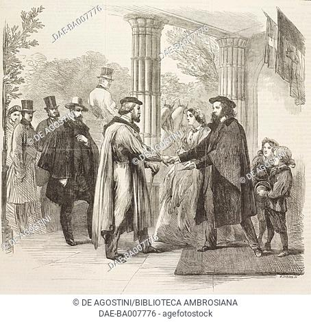 The meeting of Garibaldi and Alfred Tennyson at Faringford House, Isle of Wight, England, United Kingdom, illustration from the magazine The Illustrated London...