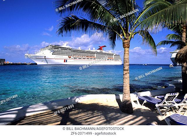 Carnival cruise ship at Cozumel port in Mexico on the Yucatan Peninsula