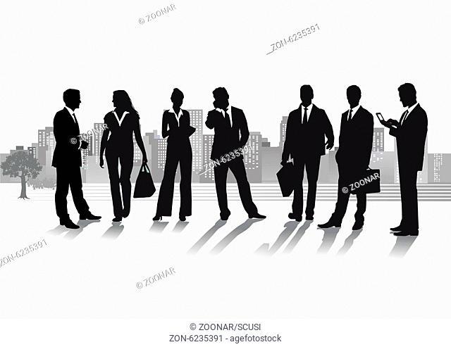 Gruppe von Geschäftsleuten mit Stadtbild