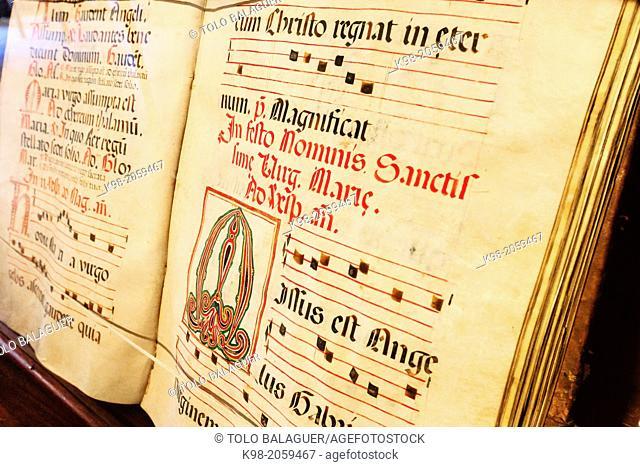 choir book, Gregorian chant on parchment, grammar room, Sanctuary of Our Lady of Cura, located in the Puig de Cura, Pla de Mallorca, Mallorca, Balearic Islands
