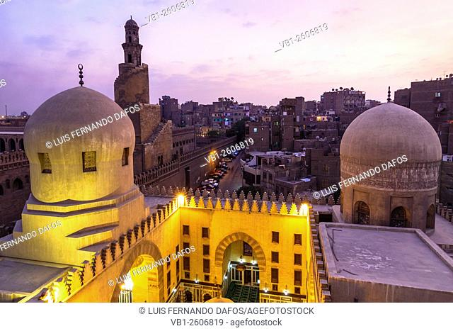 Ibn Tulun mosque minaret at dusk. Cairo, Egypt