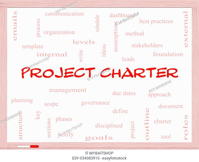 Project Charter Word Cloud Concept on a Whiteboard with great terms such as process, leads, method and more