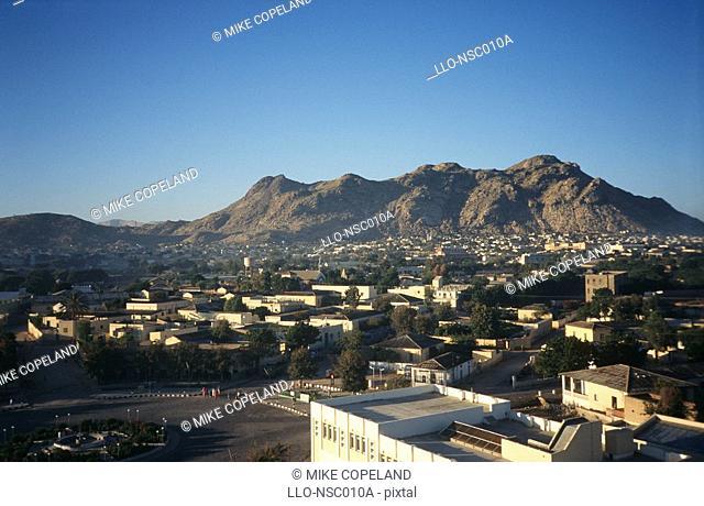 Portrait of a City Against a Mountain  Keren, Anseba Region, Eritrea