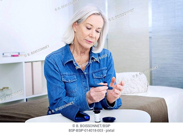 Test for diabetes, elderly person