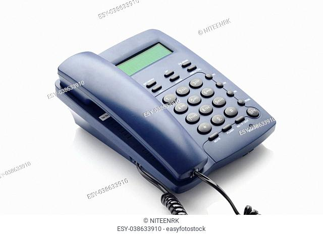 High resolution image of modern land line telephone with caller id shot in studio over white background