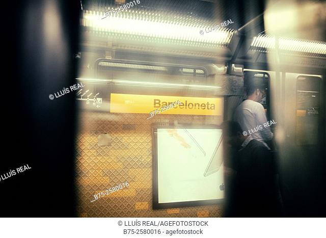 View from the window of a carriage of Barceloneta subway station, and reflections in the window. Barcelona, Catalonia, Spain, Europe