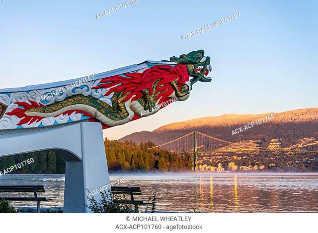 Empress of Japan, ship's figurehead, the Stanley Park seawall, Vancouver, BC, Canada