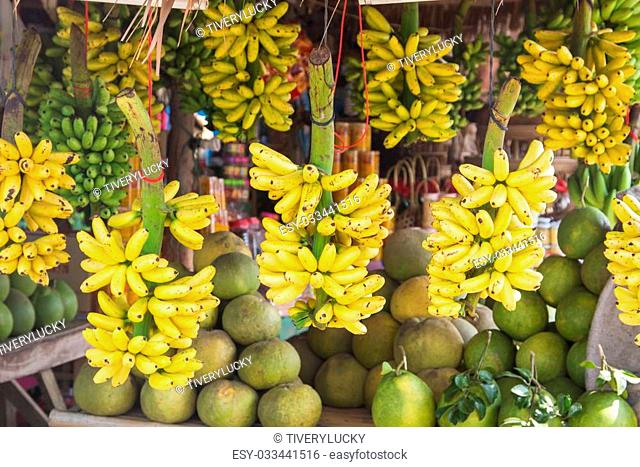 Bananas sold in stores on the street
