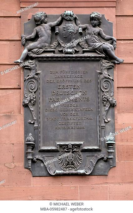memorial plaque to the 50th jubilee of the first German parliament, St.-Paul-Kirche, Frankfurt am Main, Hessia, Germany