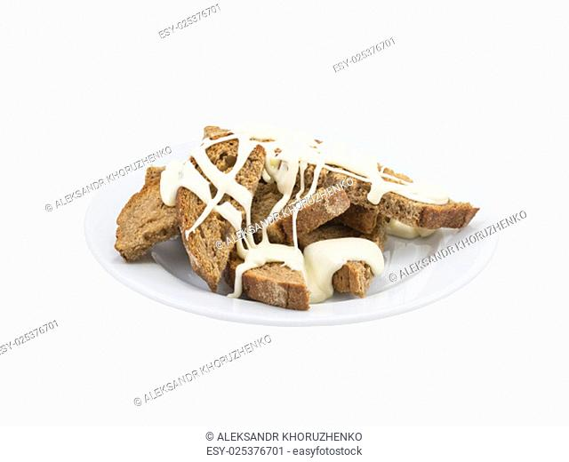 Toast with garlic and cheese on an isolated background