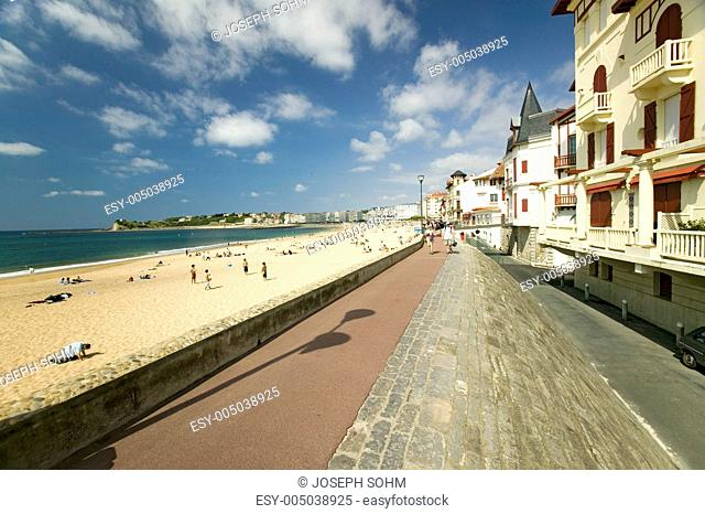 A beach boardwalk at St. Jean de Luz, on the Cote Basque, South West France, a typical fishing village in the French-Basque region near the Spanish border