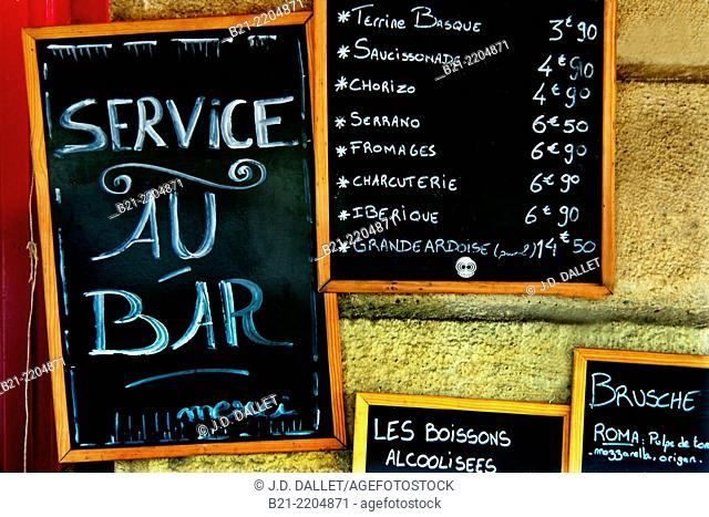 Signs in a bar restaurant, at Bordeaux, Gironde, Aquitaine, France