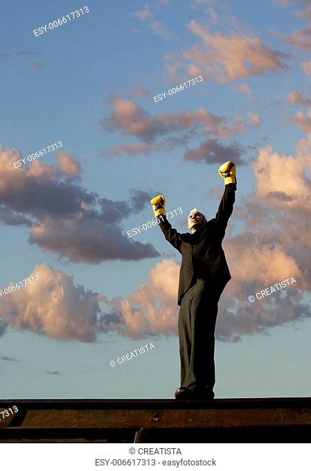 Businessman with punk hairdo and boxing gloves stands victorious with his arms in the air