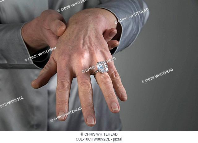 Female hand with diamond ring