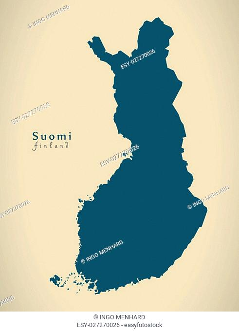 Modern Map - Finland country silhouette FI illustration