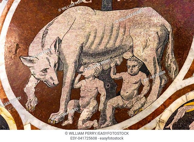 Roman Wolf Romulus Remus Founders Rome Marble Mosaic Floor Nave Cathedral Church Siena Italy. Cathedral completed from 1215 to 1263