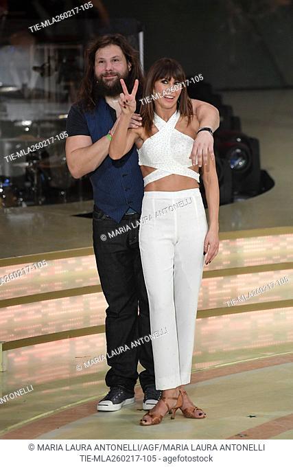 Martin Castrogiovanni with Sara Di Vaira during the tv show Ballando con le stelle, Rome, ITALY-25-02-2017