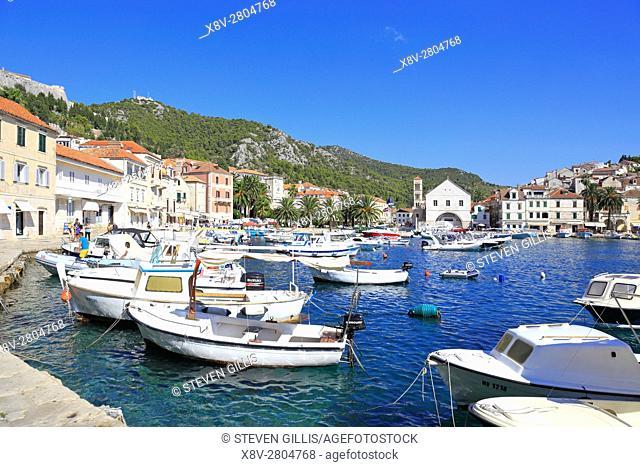 Harbour and waterfront, Hvar Town, Croatia, Dalmatia, Dalmatian Coast, Europe