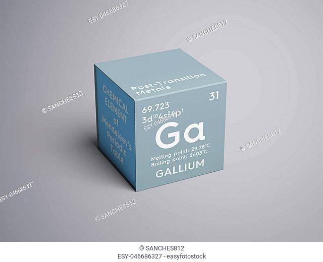 Gallium. Post-transition metals. Chemical Element of Mendeleev's Periodic Table. Gallium in square cube creative concept