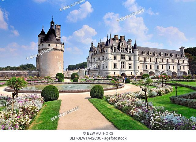 Chateau de Chenonceau France. This castle is located near the small village of Chenonceaux in the Loire Valley was built in the 15-16 centuries and is a tourist...