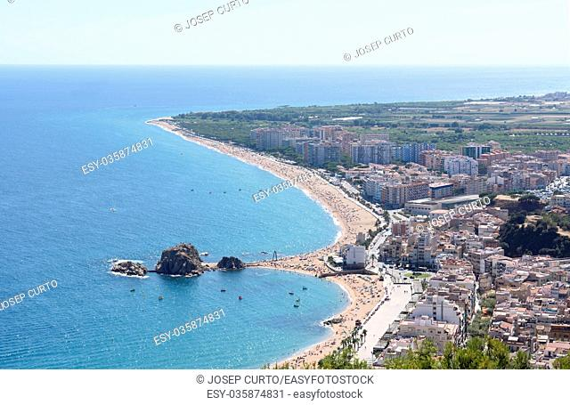 elevated view of the seaside town of Blanes, Costa Brava, Girona province, Catalonia, Spain