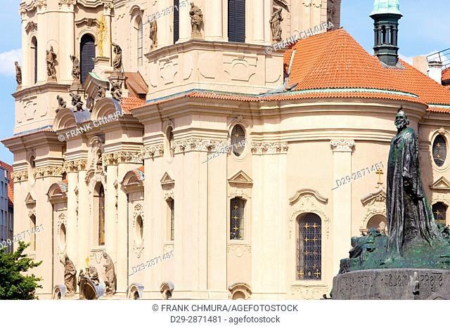 Prague, Old Town Square - Jan Hus Memorial and St. Nicolas Church