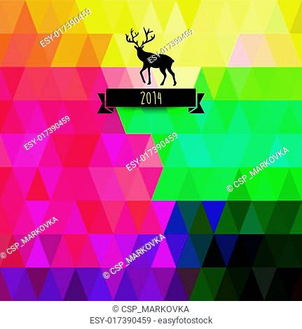 Vector Christmas greeting card. Triangles. Christmas tree. Hipster. Abstract silhouette of tree, deer, flag banner for your text. Geometry backdrop