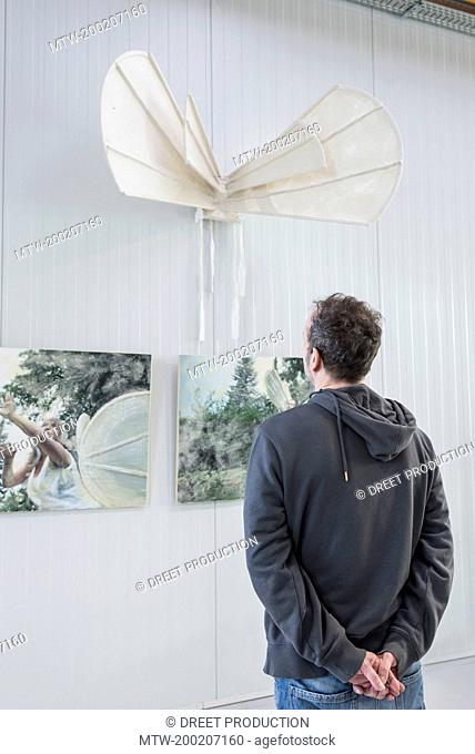 Visitor looking at paintings in an art gallery, Bavaria, Germany