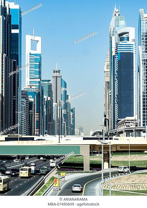 Scenic downtown skyline by day, Dubai, United Arab Emirates