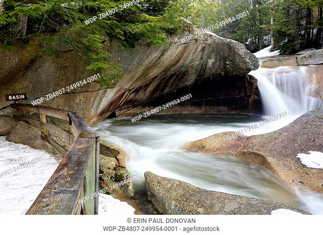 The Basin in Franconia Notch State Park of Lincoln, New Hampshire USA during the spring months. This a natural feature along the Pemigewasset River
