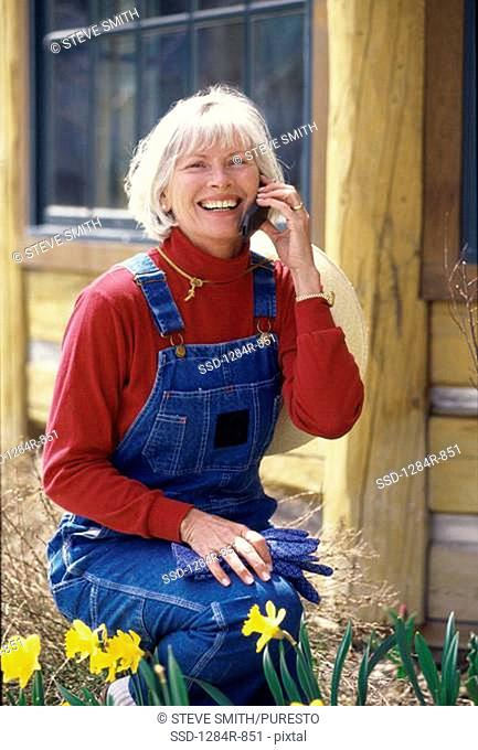 Portrait of a senior woman talking on a mobile phone