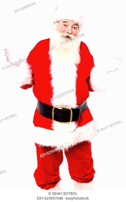 Old man in santa costume with open hands