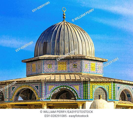 Small Shrine Dome of the Rock Islamic Mosque Temple Mount Jerusalem Israel. Built in 691 One of most sacred spots in Islam where Prophet Mohamed ascended to...
