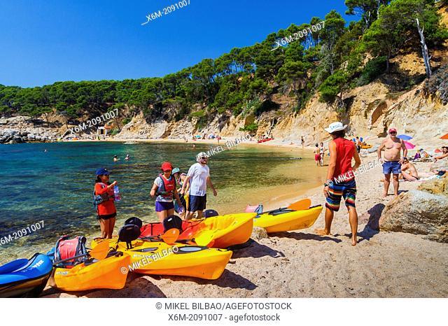 Cala Estreta cove. Palamos town. Costa Brava, Gerona. Catalonia, Spain, Europe