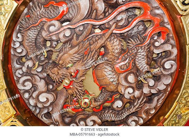 Japan, Honshu, Tokyo, Asakusa, Sensoji Temple aka Asakusa Kannon Temple, Kaminarimon Gate, Dragon Decoration on Base of Giant Lantern