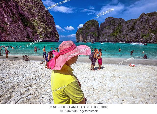 Asia. Thailand. Koh Phi Phi island. Tourists on a famous Maya Bay beach