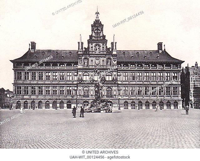 Das Rathaus und der Brabo Brunnen in Antwerpen., Sammlung Wittmann