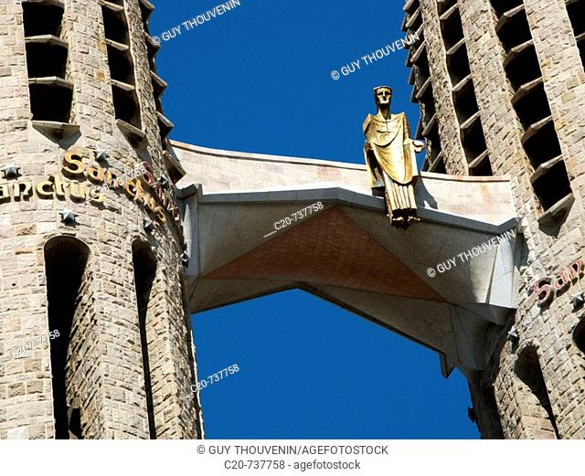 Detail of the Sagrada Familia temple by Gaudi, Barcelona. Catalonia, Spain
